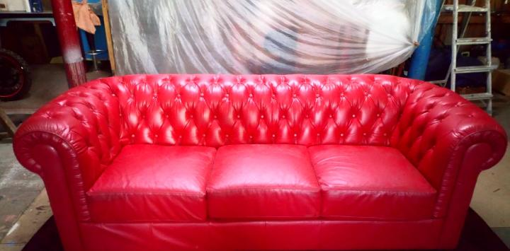Sofa chester 3 plazas pu rojo