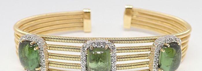 18 quilates oro amarillo - brazalete - 1.32 ct 66 diamantes