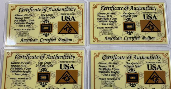 4 lingotes 1 grano de oro 24 k 999 certificado acb
