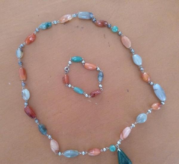 Collar de plata con piedras semipreciosas con pulsera a