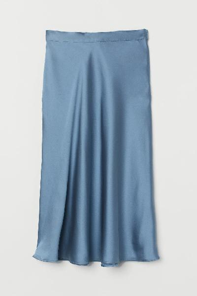 H&m falda midi satén azul claro 42 nueva