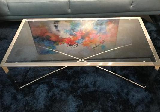 Mesa de centro cristal y acero inoxidable
