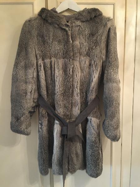 Abrigo de piel de conejo talla s-m