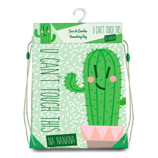 Bolsa mochila con cuerdas cactus