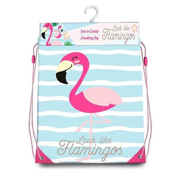 Bolsa mochila con cuerdas flamingo