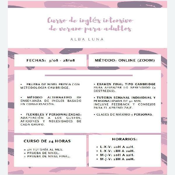 Curso de inglés intensivo - agosto