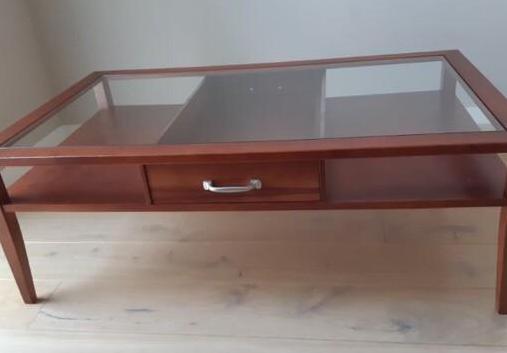 Mesa de centro madera maciza con cajón