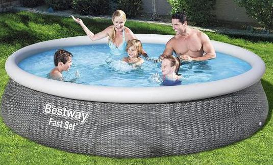 Piscina 396x84 cm hinchable fast set rattan
