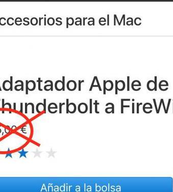 Adaptador apple de thunderbolt a firewire nuevo