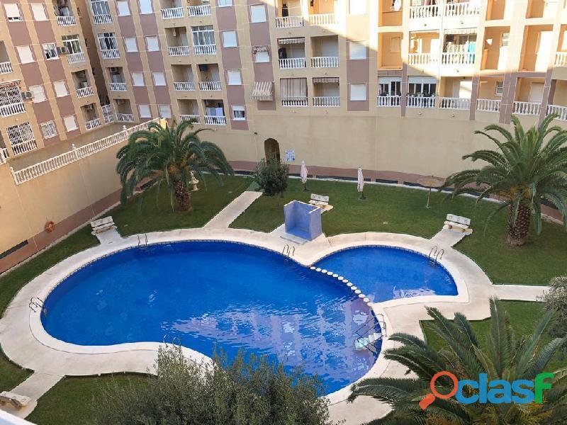 Apartamento con piscina comunitaria a 50m del parque de las naciones, torrevieja