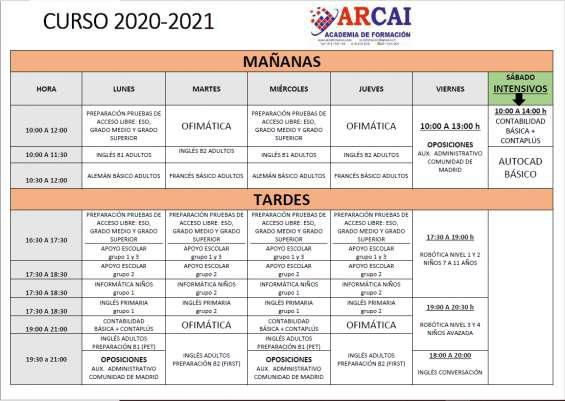 Cursos 2020/2021 en arganda del rey