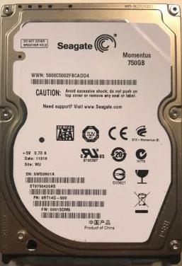 Disco duro seagate 2.5 inch 750gb 7200 rpm 16mb