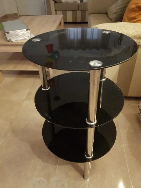 Mesa de diseño vintage cristal negro templado