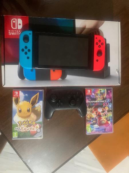 Nintendo switch dos juegos y mando pro