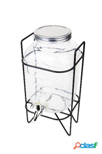 Dispensador de bebidas de cristal con grifo y soporte (3,7 l)