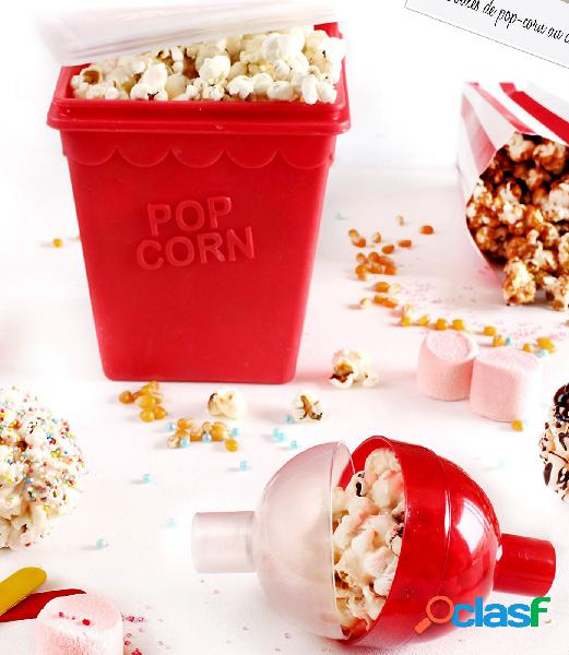 Caja y bola para palomitas de maíz de plástico rojo