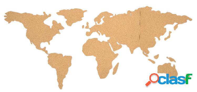 Mapa del mundo de corcho para la pared con adhesivo