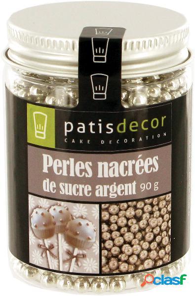 Perlas de azucar plateadas de decoración patisdecor (90 gr)