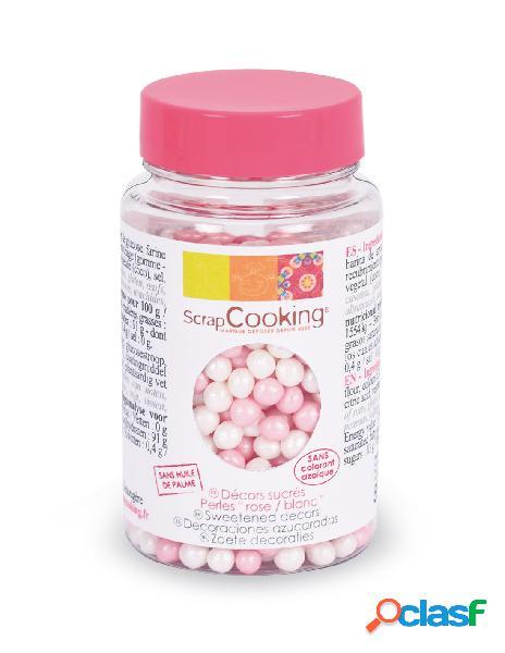 Perlas decoración repostería rosa y blanca scrapcooking (55 gr)