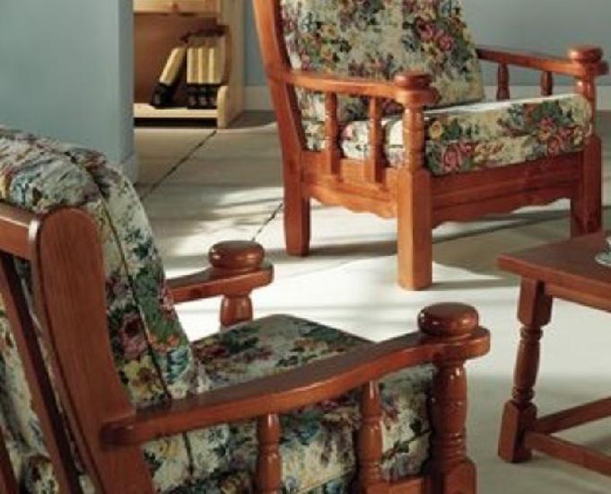 Conjunto de 3 sofás rústicos de madera maciza
