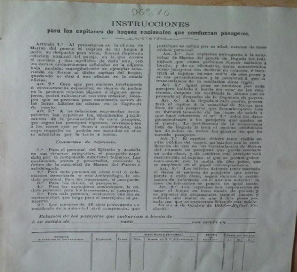 Instrucciones para los capitanes de buques nacionales que