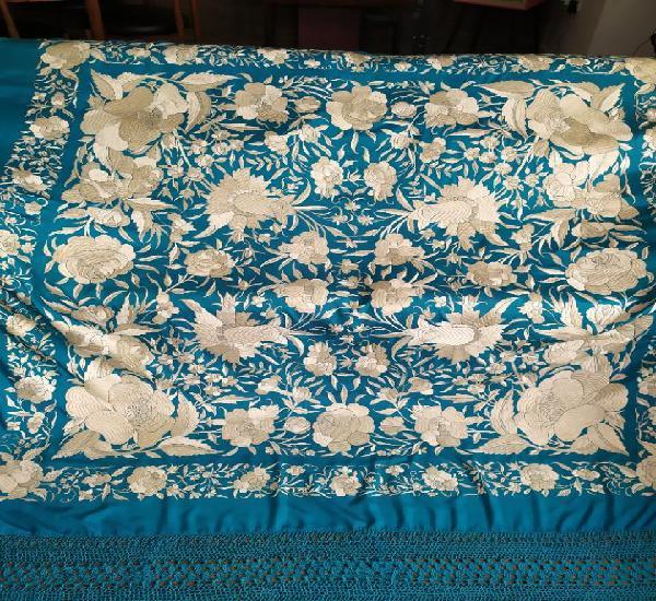 Impresionante mantón de manila azul antiguo de tulipanes