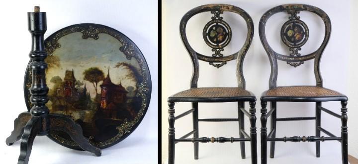 Mesa velador abatible con sillas en madera lacada y pintada