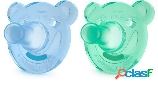 Avent chupetes soothie shapes azul y verde +3m 2 unidades