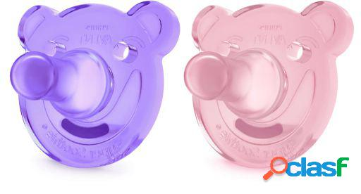 Avent chupetes soothie shapes rosa y lila +3m 2 uds