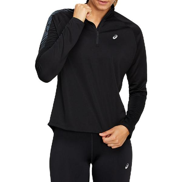 Camiseta asics icon half zip de manga larga negro mujer