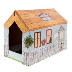 Caseta de cartón cottage con rascador y catnip