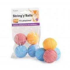 Pack de pelotas string y balls para gatos color varios