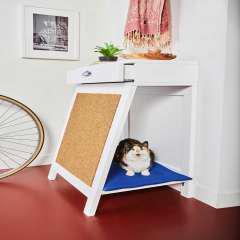 Recibidor de madera cama rascador para gatos color fucsia