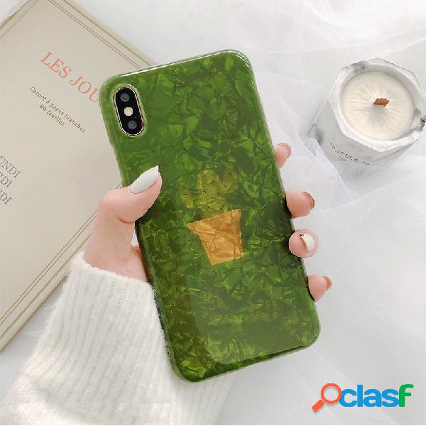Mujer ins shell green planta style teléfono caso para iphone8plus / 7p / 6s iphone xs max / xr