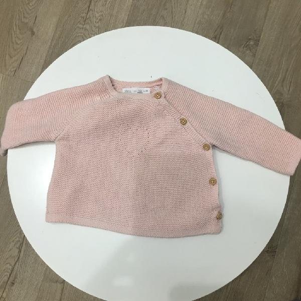 Chaqueta punto rosa zara