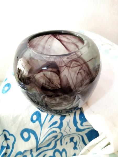 Vintage: jarrón cristal murano. lilas difuminado
