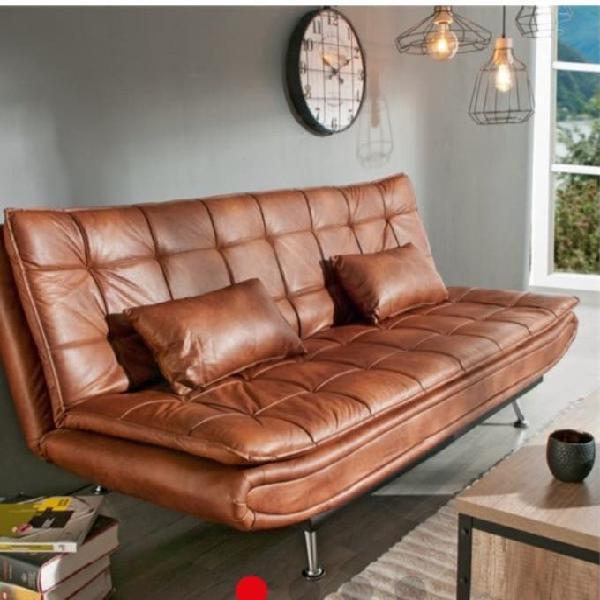 Sofá cama marron de piel sintética willem