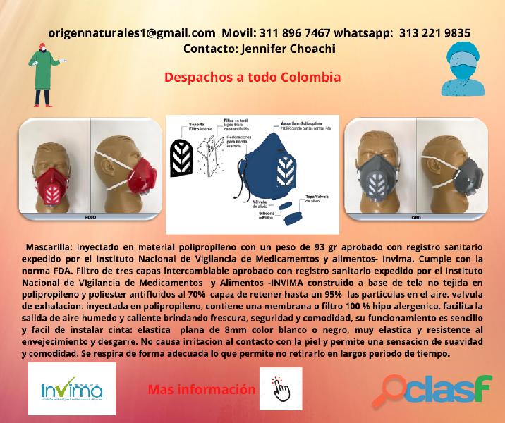 MASCARILLA TAPABOCAS ANTIFLUIDO EFICAZ 95 % REGISTRO SANITARIO INVIMA 4