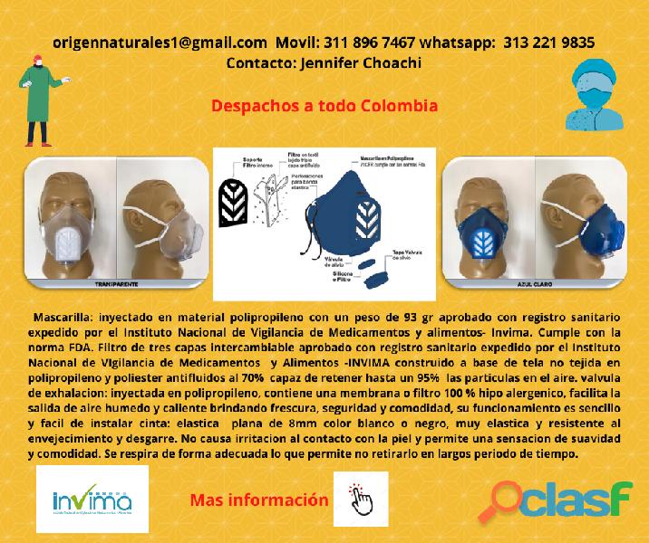 MASCARILLA TAPABOCAS ANTIFLUIDO EFICAZ 95 % REGISTRO SANITARIO INVIMA 5