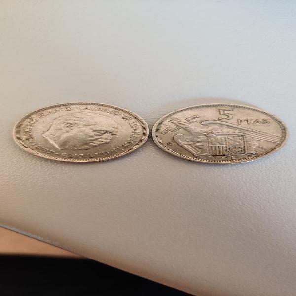 11 monedas de 5 pesetas (francisco franco) 1957
