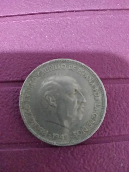 Moneda cinco pesetas de franco 1949*49*