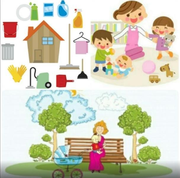 Limpieza de hogar y cuidado de niños
