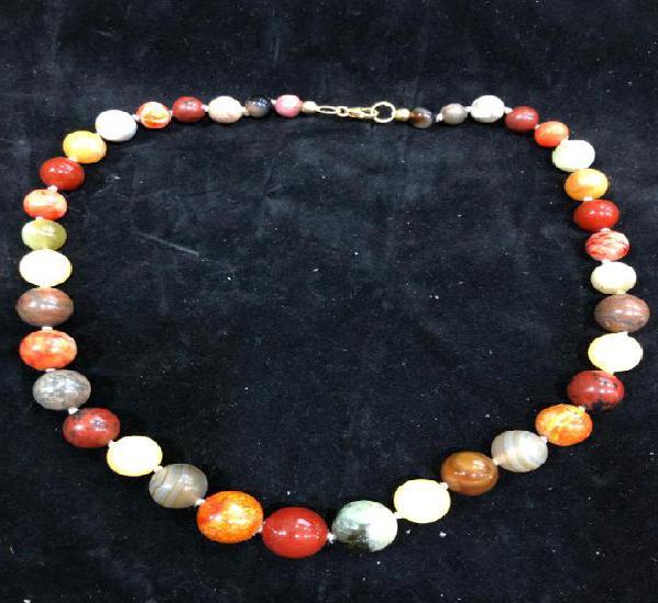 Collar de piedra natural cuarzo y cierre plata de ley 925 -