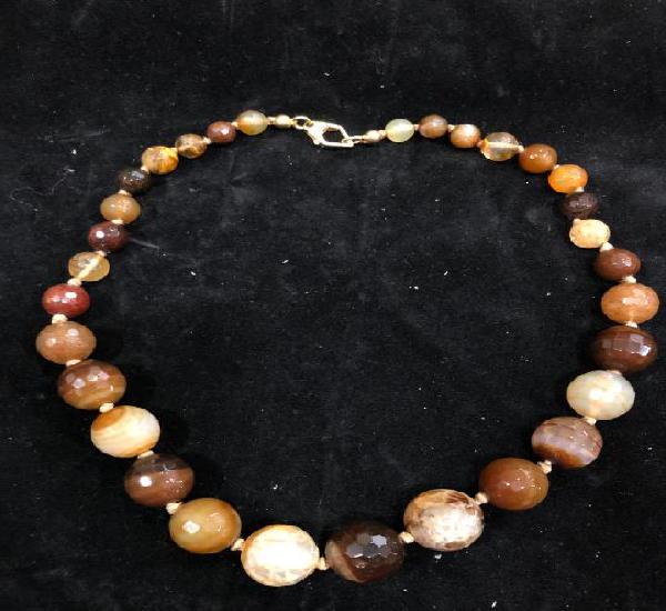 Collar piedra natural agata y cierre plata dorada 925 -