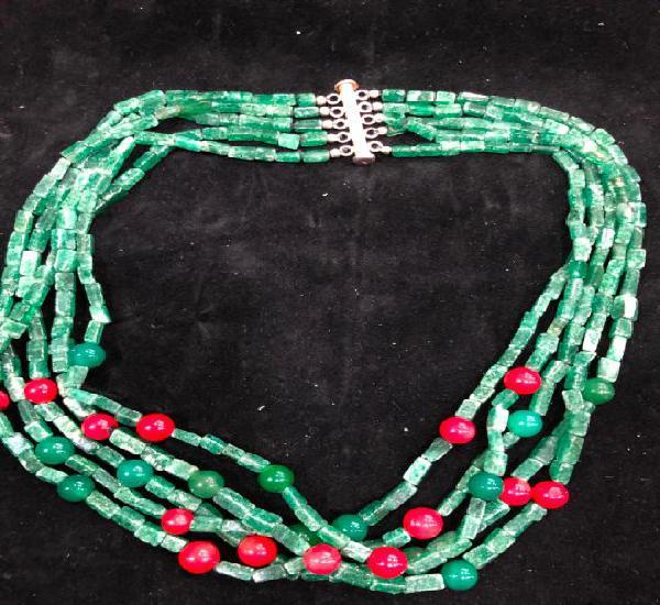 Collar piedra natural jade, coral y cierre plata de ley 925