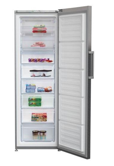 Congelador vertical beko rfne312k21x alto 185,acabado inox