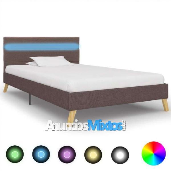 Estructura de cama con led tela gris topo 90x200 c