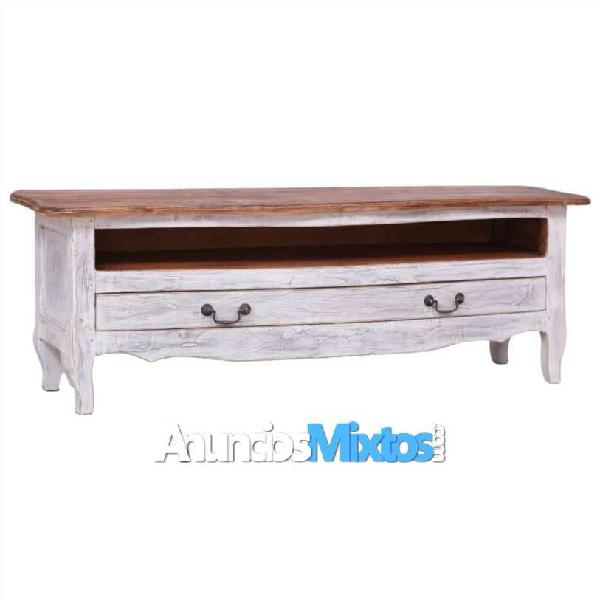 Mueble para tv de madera maciza reciclada blanco 1