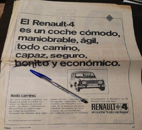 Año 1968, renault 4, gran hoja de publicidad antigua, 46,5