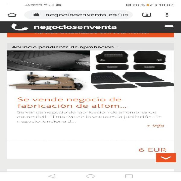 Negocio de fabricación de alfombras de au